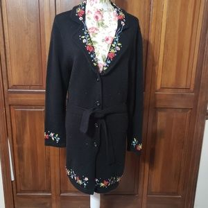 Black floral embroidery cardigan m